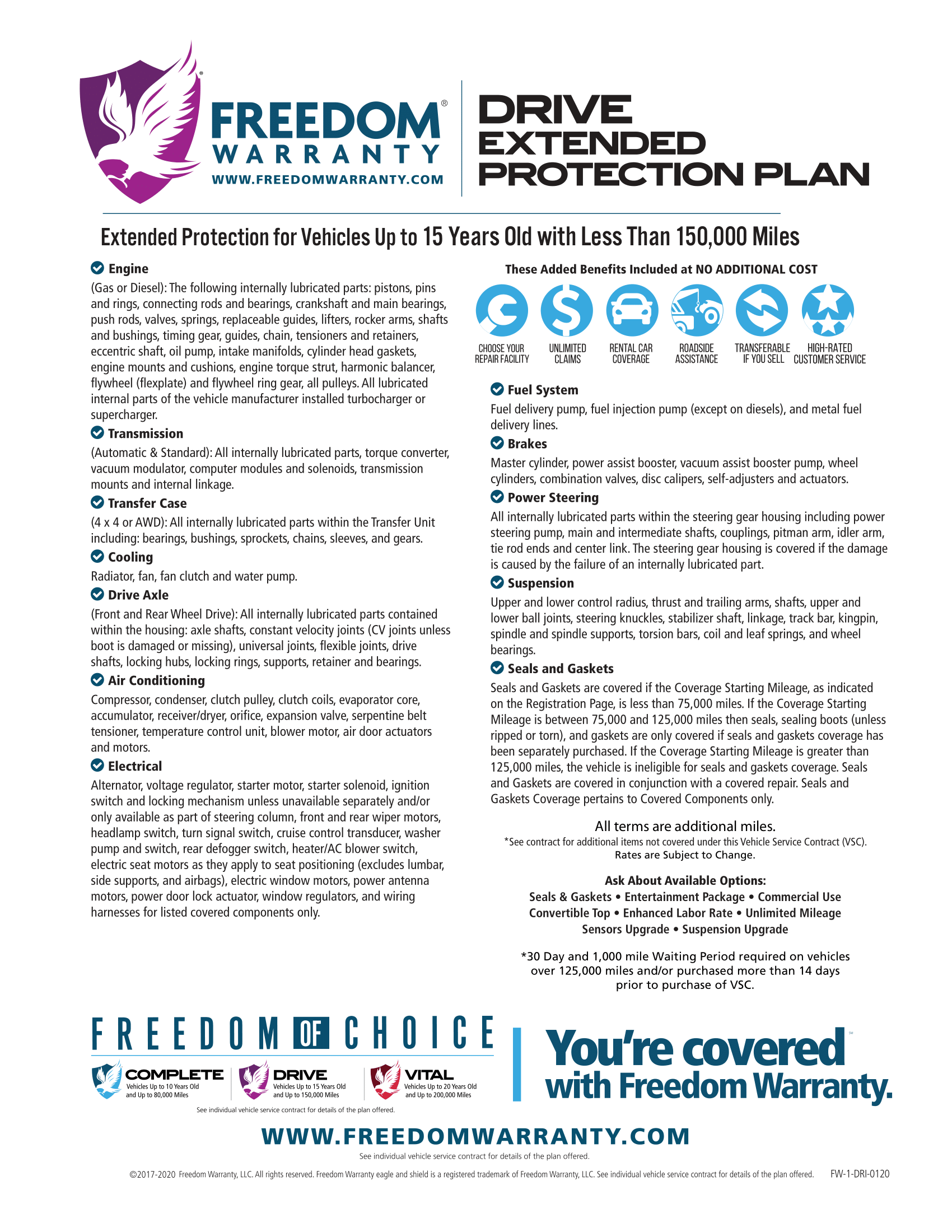 Freedom Warranty Drive Service Contract